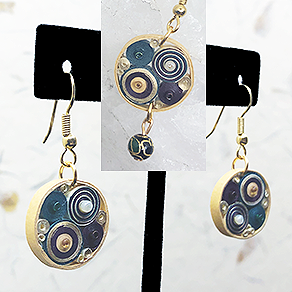 Quilled Paper Treasures - Round earrings in gold, purple, and green