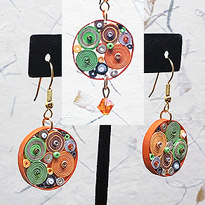 Quilled Paper Treasures - Round earrings in orange, brown, green, silver, and gold