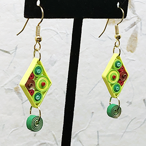 Quilled Paper Treasures - Diamond earrings in green, yellow, gold, and red