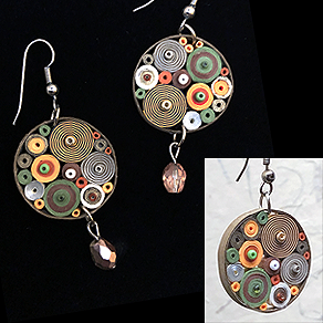 Quilled Paper Treasures - Round earrings in brown, orange, green, white, and silver