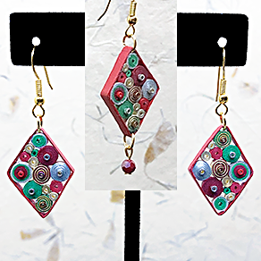 Quilled Paper Treasures - Diamond-shaped earrings in red, green, silver, and gold