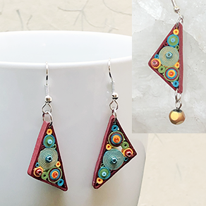 Quilled Paper Treasures - Triangle earrings in green, red, turquoise, and orange