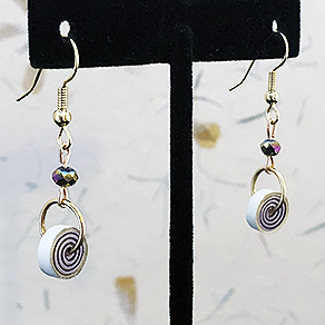 Quilled Paper Treasures - Bauble and bead earrings in purple, cream, and gold