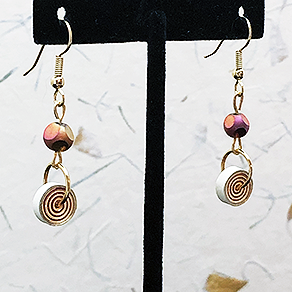 Quilled Paper Treasures - Bauble and bead earrings in red, orange, and gold