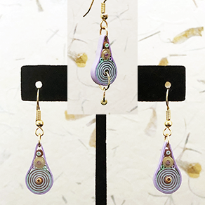 Quilled Paper Treasures - Teardrop earrings in light green, light purple, brown, and gold