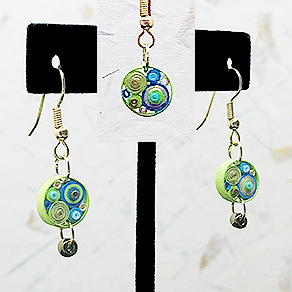 Quilled Paper Treasures - Round earrings in turquoise, lime green, and gold