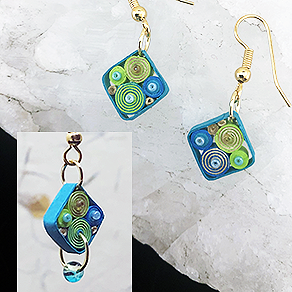 Quilled Paper Treasures - Diamond earrings in turquoise, lime green, gold