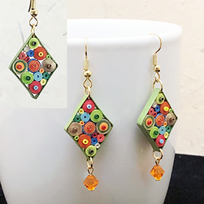 Quilled Paper Treasures - Diamond earrings in multiple colors with green border