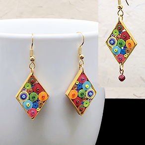 Quilled Paper Treasures - Diamond earrings in multiple colors with gold border