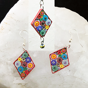 Quilled Paper Treasures - Diamond earrings in multiple colors with red border