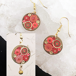 Quilled Paper Treasures - Round earrings in red, bright red, and gold