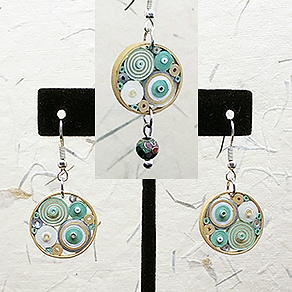 Quilled Paper Treasures - Round earrings in light green, white, gold, and silver