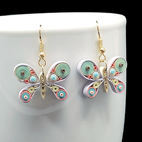 Quilled Paper Treasures - Butterfly earrings in turquoise, olive green, peach, cream, and gold