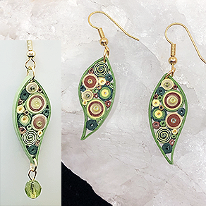 Quilled Paper Treasures - Leaf earrings in green, gold, and brown