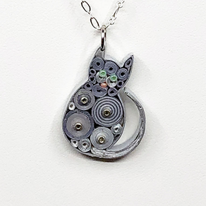 Quilled Paper Treasures - Cat necklace in gray and silver