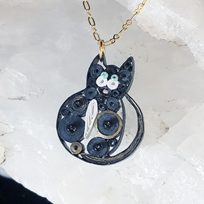 Quilled Paper Treasures - Cat necklace in black, white, and gold