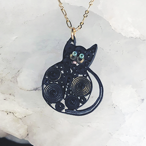 Quilled Paper Treasures - Cat necklace in black, silver, and gold