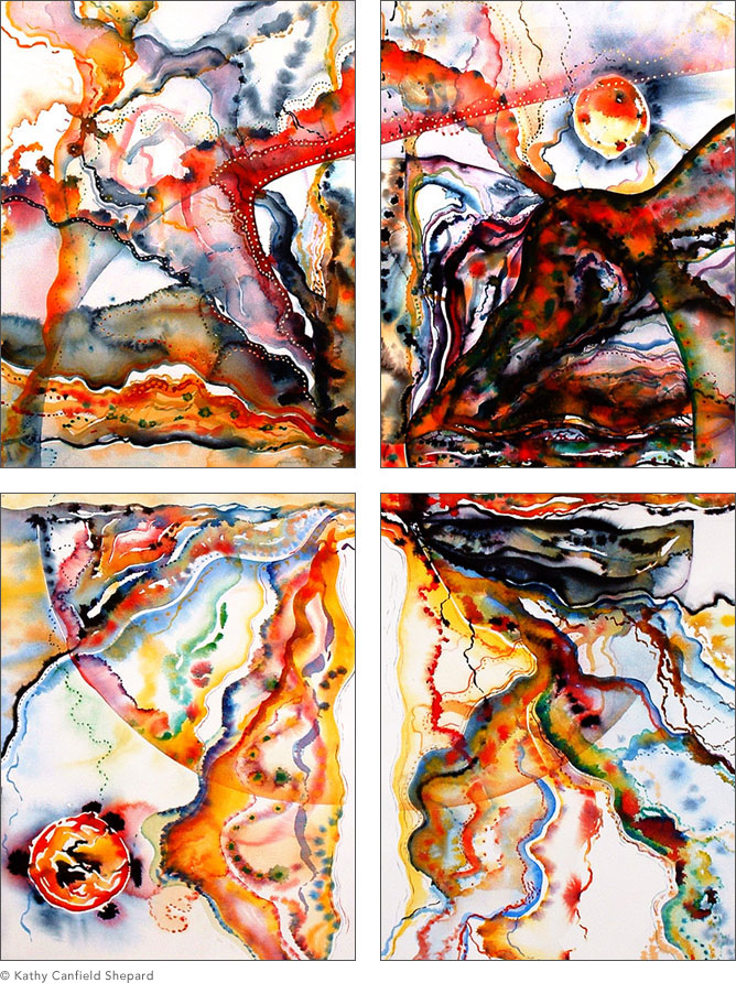 watercolor abstract multi-panel paintings