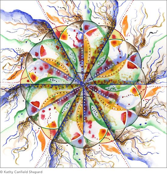 watercolor abstract paintings  kaleidoscope series